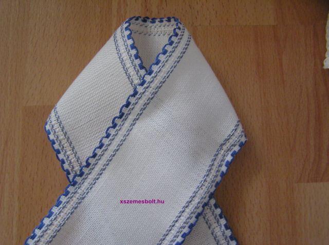 Fehér-kék len szalag 8.5 cm